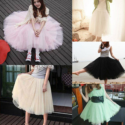 Fashion Women Princess Lace Fairy Style Multilayer Tulle Bouffant Long Skirts