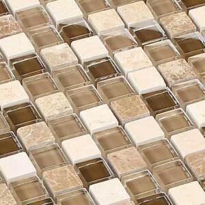 Glasmosaik Fliesen Naturstein Marmor Mosaik Glass Stone Beige Braun