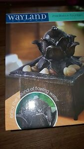 WAYLAND SQUARE LOTUS FLOWER TRANQUILITY FOUNTAIN MEDITATION TABLE TOP NIB
