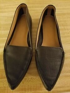 J-Crew-Edie-Black-Leather-Pointy-Toe-Slip-On-Flats-Women-Size-8