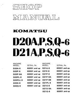 komatsu bulldozer d20p 6 d21p 6 d20 d21a p s q 6 service repair shop rh ebay com Komatsu D20a Dozer Specs Smallest Komatsu Dozers