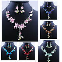 Dragonfly Flowers Acrylic Alloy Crystal Necklace and Earrings Summer Jewelry Set