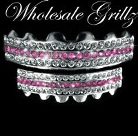 Platinum Silver Style Iced Out Pink Teeth Grillz Set Girls Womens Hiphop Jewelry