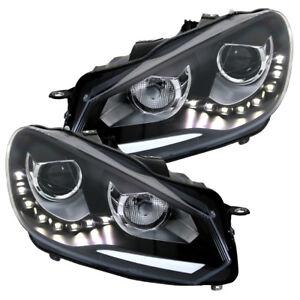 Scheinwerfer-Set-DRL-LED-Tagfahrlicht-VW-Golf-6-VI-Bj-2008-2013-Schwarz