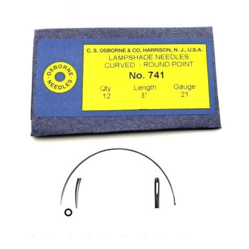 """C.S Size 3/"""" 21 Gauge 12//pk. Osborne Curved Lampshade Needles #741"""