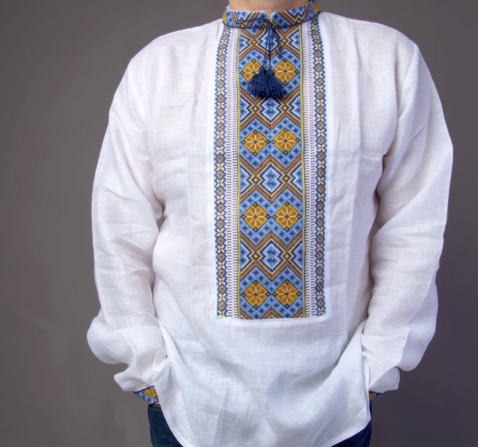 VYSHYVANKA Mens Ukrainian Embroidered LINEN White SHIRT S-4XL GIFT FOR DAD IDEA