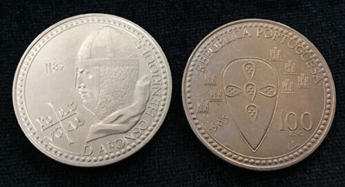 """PORTUGAL 100 ESCUDOS 1985 /""""800th DEATH OF KING ALFONSO HENRIQUES/"""" COIN UNC"""