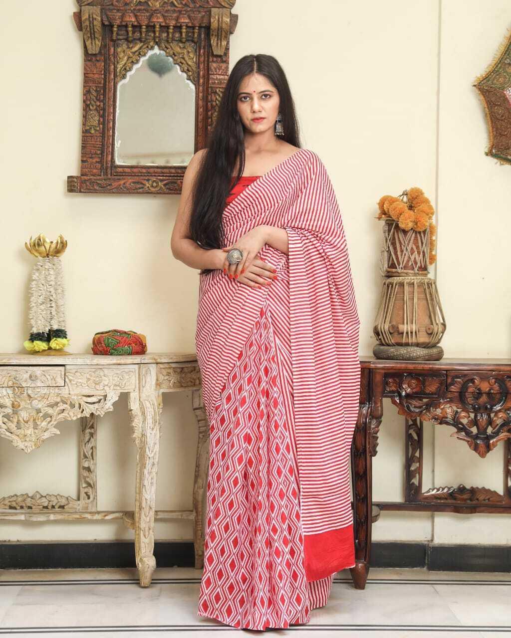New Sanganeri Designer Handmade Hand Printed Cotton Saree For Women & Blouse Pic