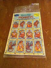 Munchin' Monkeys Scratch N Sniff 24 Coconut Scented Stickers Sticker Store RARE
