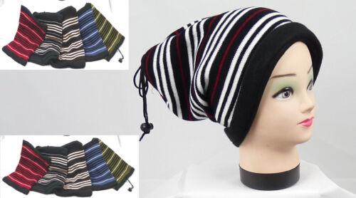 Damen Strick Schal Mütze schwarz in 6 Farben geringelt feine Strick Art neu  N 8
