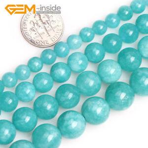 Blue-Amazonite-Color-Jade-Gemstone-Round-Beads-For-Jewellery-Making-Strand-15-034-UK