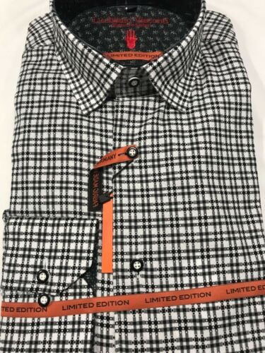 NWT Luchiano Visconti Men/'s Shirt Black and White Medium