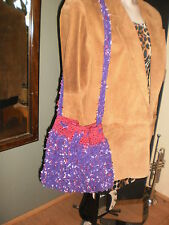 Hand made crochet, UNIQUE one of a kind, thick purple BOHO purse w/make-up bag