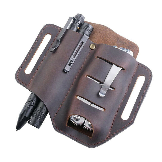 Pocket EDC Organizer Leather Slip Sheath with 2 Pockets for Knife/Tool/Flas V7G6