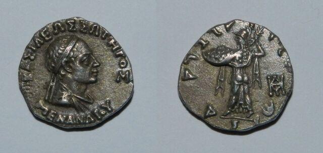 ANCIENT AFGHANISTAN, Baktria, Menander 160-145 BC, silver Drachm, EF.