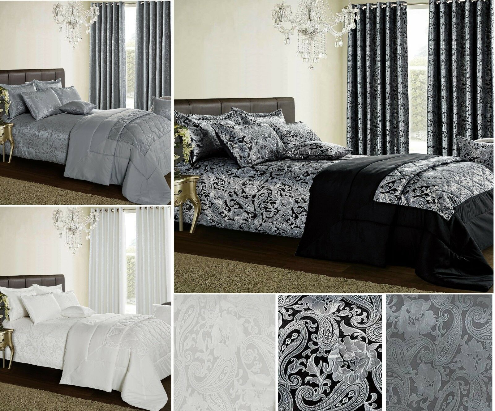 Paisley Bedspread Comforter Floral Bed Runner Jacquard Bed Throw Pillow Shams