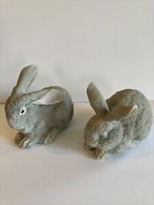 Vintage Ceramic Bunny Rabbit Figurines Gray Hand Painted Fur Like Lot of 2