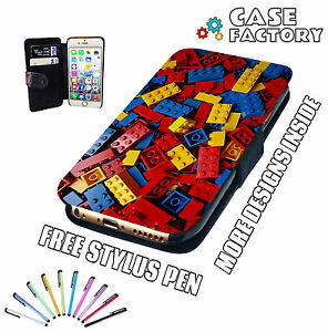 Red-Yellow-Blue-Lego-Blocks-Bricks-Fun-Mobile-Leather-Flip-Wallet-Case-Cover