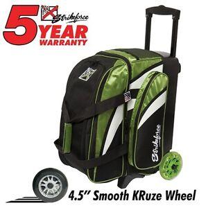 Doux Kr Strikeforce Cruiser Smooth Lime Green/white/black 2 Ball Roller Bowling Bag