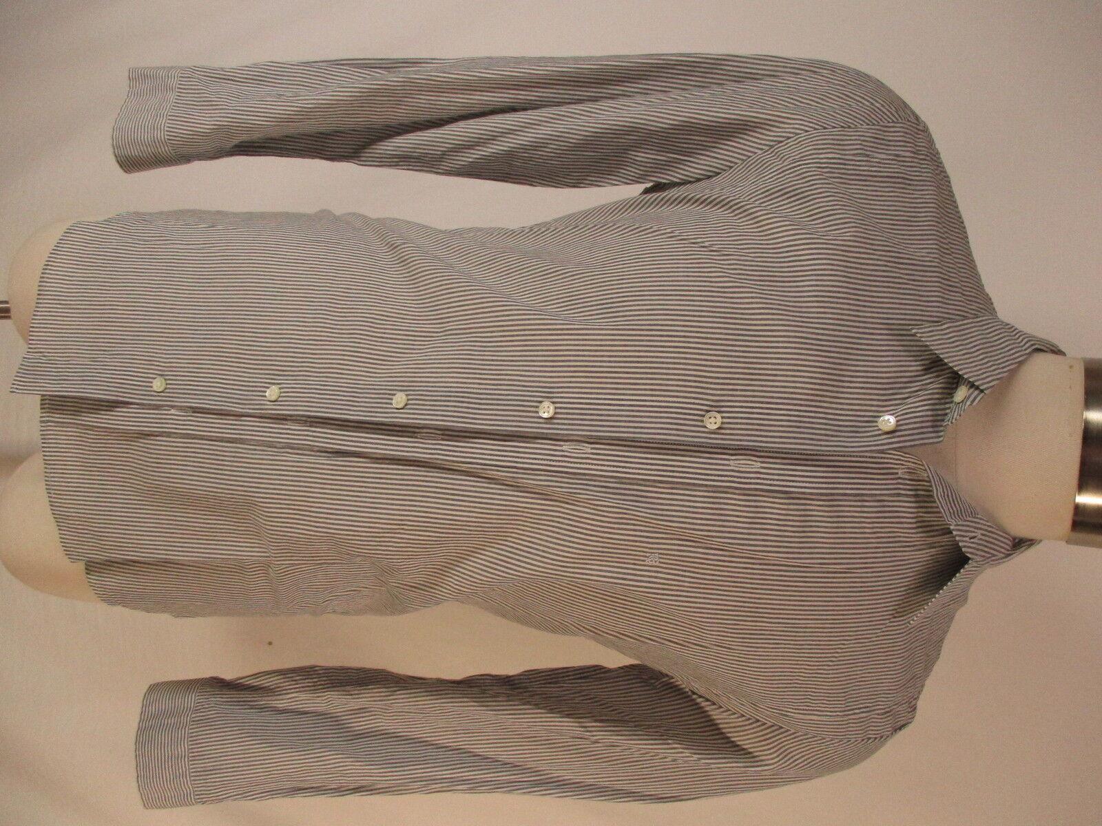 Robert Geller New York Grey Stripe Long Sleeve Cotton Shirt size 46 Japan Made