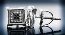Stylish Men's 0.10 CTW Genuine White & Black Diamond Square Design Stud Earrings