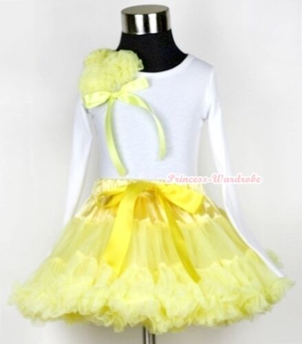 Yellow Pettiskirt with Bunch Of Yellow Rosettes /& Bow Long Sleeve Top 1-8Year