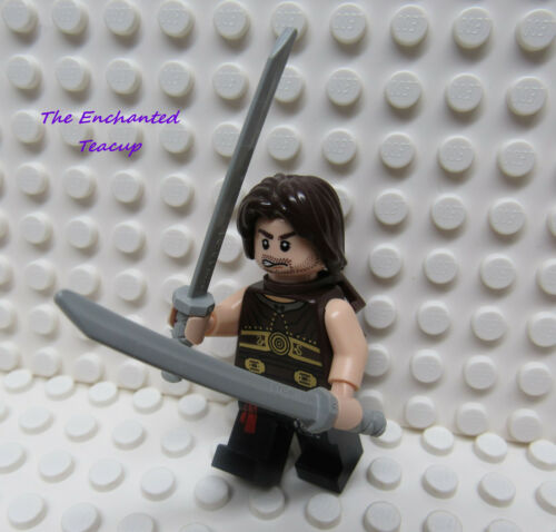 Lego Minifig Prince of Persia Dastan with 2 Light Gray Swords New