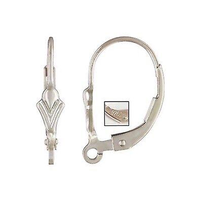 925 Sterling Silver Plain Leverback Earwires 10pcs #5206-1