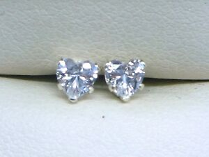 DIAMOND-SILVER-STUD-EARRINGS-4mm-HEART-CUT-STERLING-SILVER-LAB-CREATED-sk1099