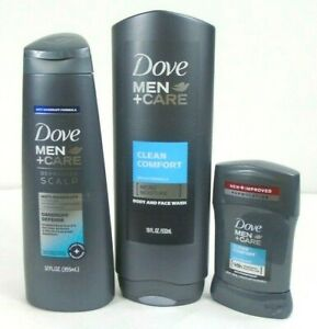 Dove Men Care Clean Comfort Bath Body Set 3 Pcs Deodorant Body Face Wash Shampoo Ebay