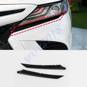 2Pcs For Toyota Camry SE XSE 2018-2019 Black Headlight Head Lamp Brow Cover Trim