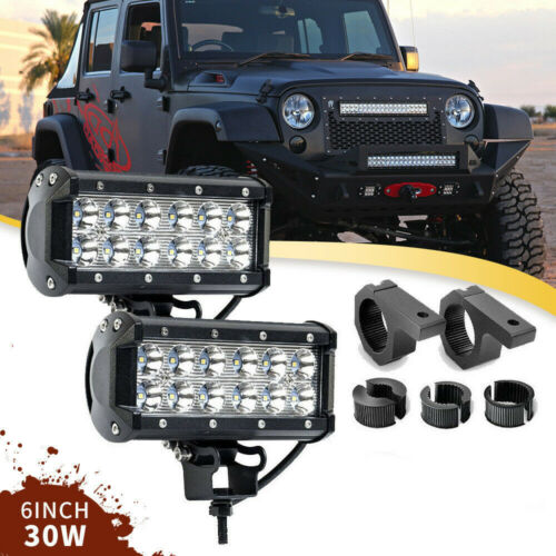 """2X DOT 6/"""" 36W Led Light Bar Off Road Combo Mounting Brackets For Kenworth T600"""