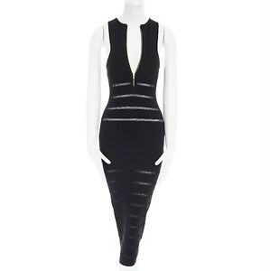 819172e27f0 Image is loading SELF-PORTRAIT-black-sheer-paneled-stripe-knitted-bodycon-
