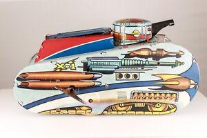 Marx-Rex-Mars-X-1-Planet-Patrol-Sparkling-Space-Tank-1950-039-s-10-034-Excellent-Works