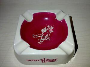 Aschenbecher-Zigarrenascher-DOPPEL-FLITZER-Halbbitter-Porzellan-60s-70s-LOOK