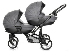 Image Is Loading Double Bebetto42 Twin Tandem Duo Pram Pushchair Stroller