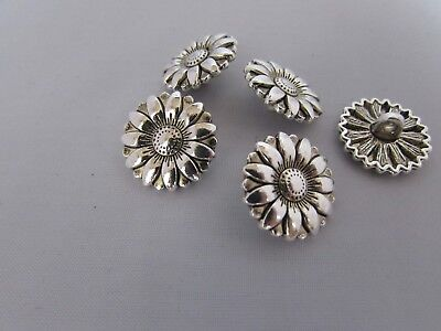 17mm Silver Tibetan Sunflower Buttons in Zinc Metal Shank Pk Sizes of 2 5 or 10