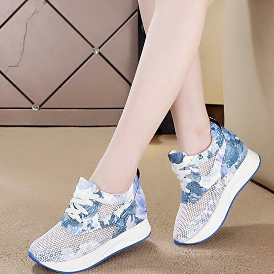 Womens Hidden Heels Floral Mesh Sneakers Casual Lace Up Trainers shoes Hot Sport