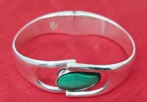 VTG-Mexico-950-Sterling-Silver-Hinged-Cuff-Bracelet-Taxco-Mexico-Malachite-inset