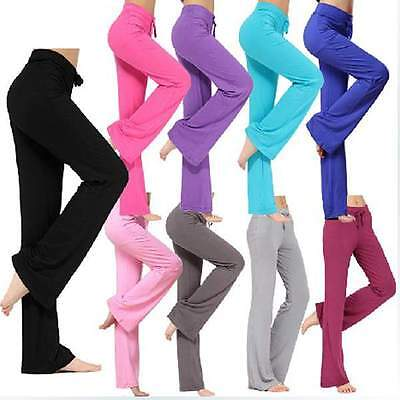 Womens Yoga Pants Sports Trousers Comfort Exercise Pants Lounge Gym Sweatpants