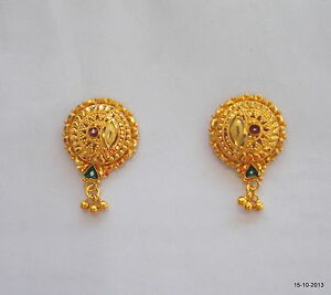Image Is Loading 20k Gold Earrings Ear Stud Handmade Jewelry Traditional
