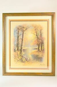 Framed-Print-Signed-Picture-River-in-the-Woods-Landscape