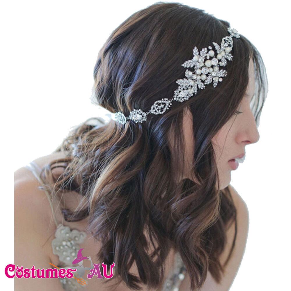 Bridal Hair Accessories Pearl Hairband 20s Flapper Chain Headpiece Gatsby Boho