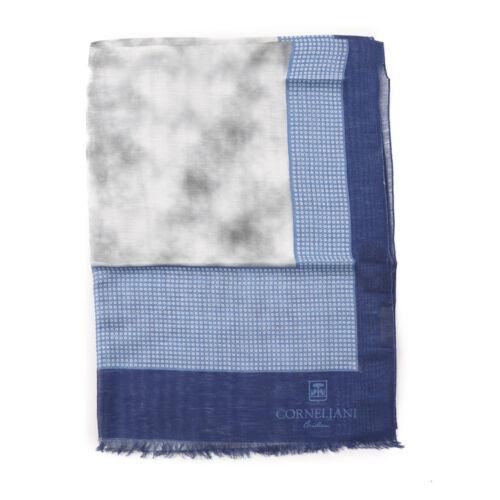 New $250 CORNELIANI Lightweight Foulard Print Linen Summer Scarf Navy-Sky Blue