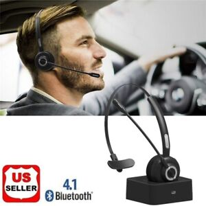 For Truck Driver Noise Cancelling Wireless Headphones Boom Mic Bluetooth Headset Ebay