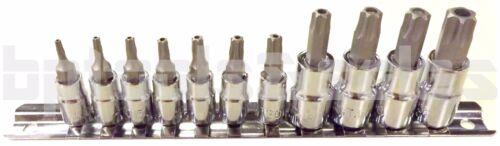 11 Pc 6-POINT Torx Star Tamper Proof Security S2 Steel Bit Socket Set w// Holder