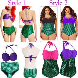 Little-Mermaid-Swim-Costume-Bandage-Swimsuit-Push-up-Bandeau-Bikini-Fatkini-plus