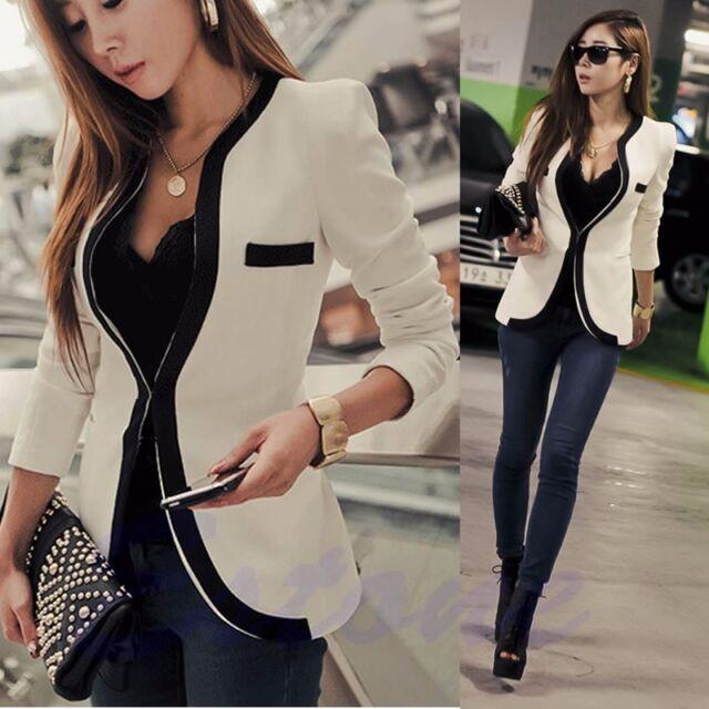 Fashion Women White Black Colors Suit Blazer Coat Slim Jacket Outerwear New