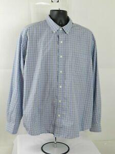 Eddie-Bauer-Plaid-Long-Sleeve-Button-Down-Shirt-Size-XL-Blue