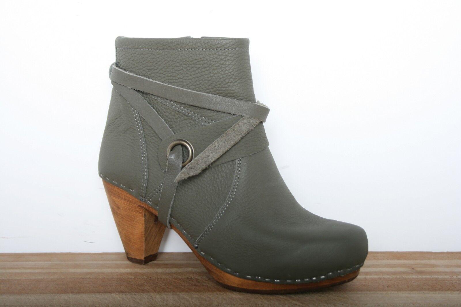 SANITA Grün Leather 3  High Ankle Wooden Heel Ankle High Stiefel Stiefelies EUR 38   US 7-7.5 fcd4ec